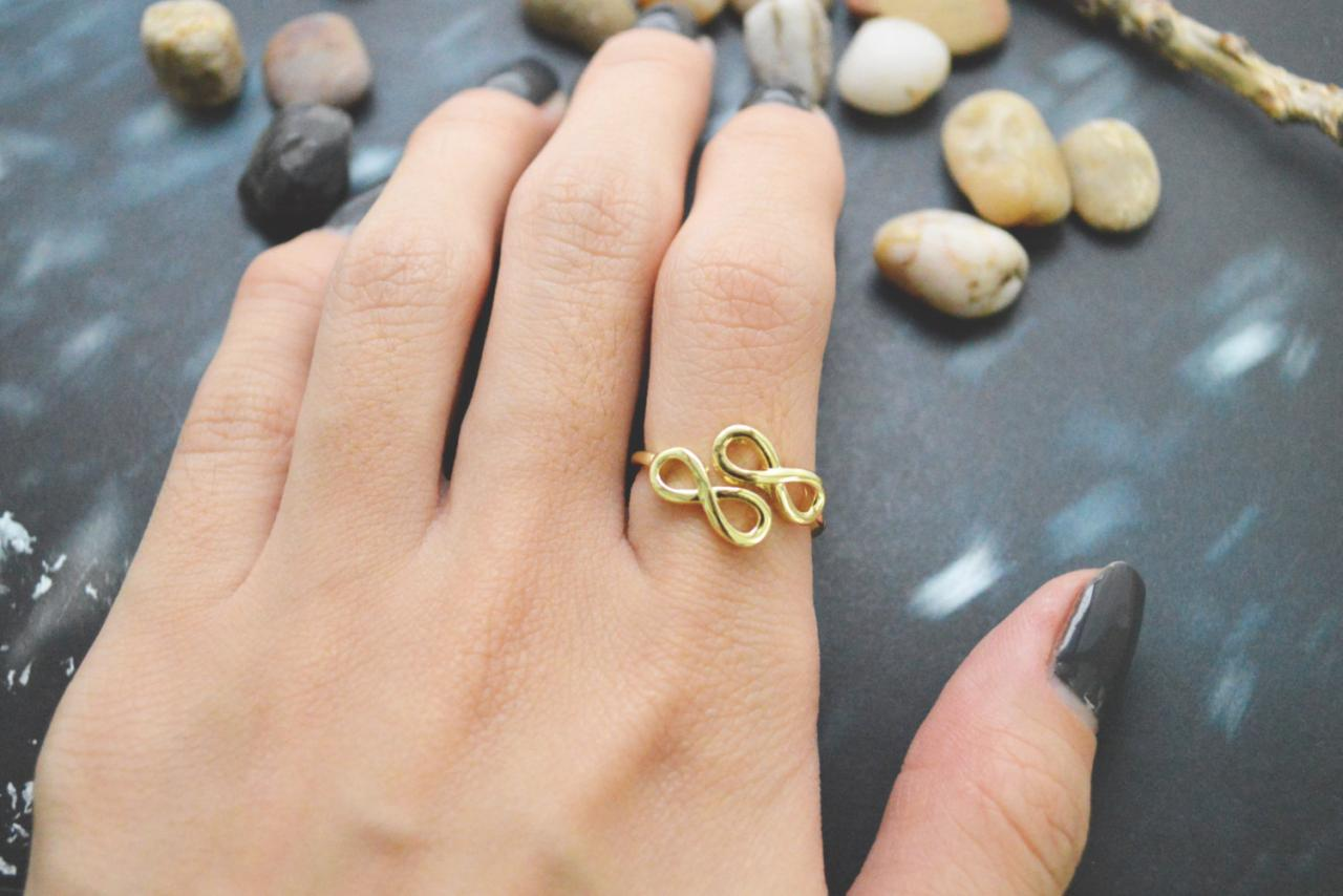E-045 Infinity ring, Adjustable ring, Stretch ring, Simple ring, Modern ring, Gold plated ring/Everyday/Gift/