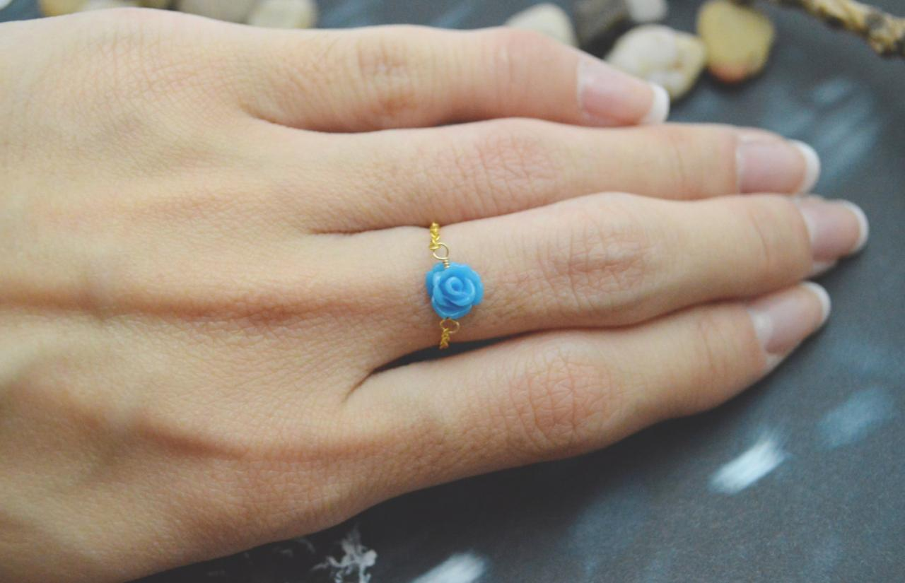 E-037 Rose ring, Chain ring, Flower ring, Cabochon ring, Simple ring, Modern ring, Gold plated ring/Everyday/Gift/