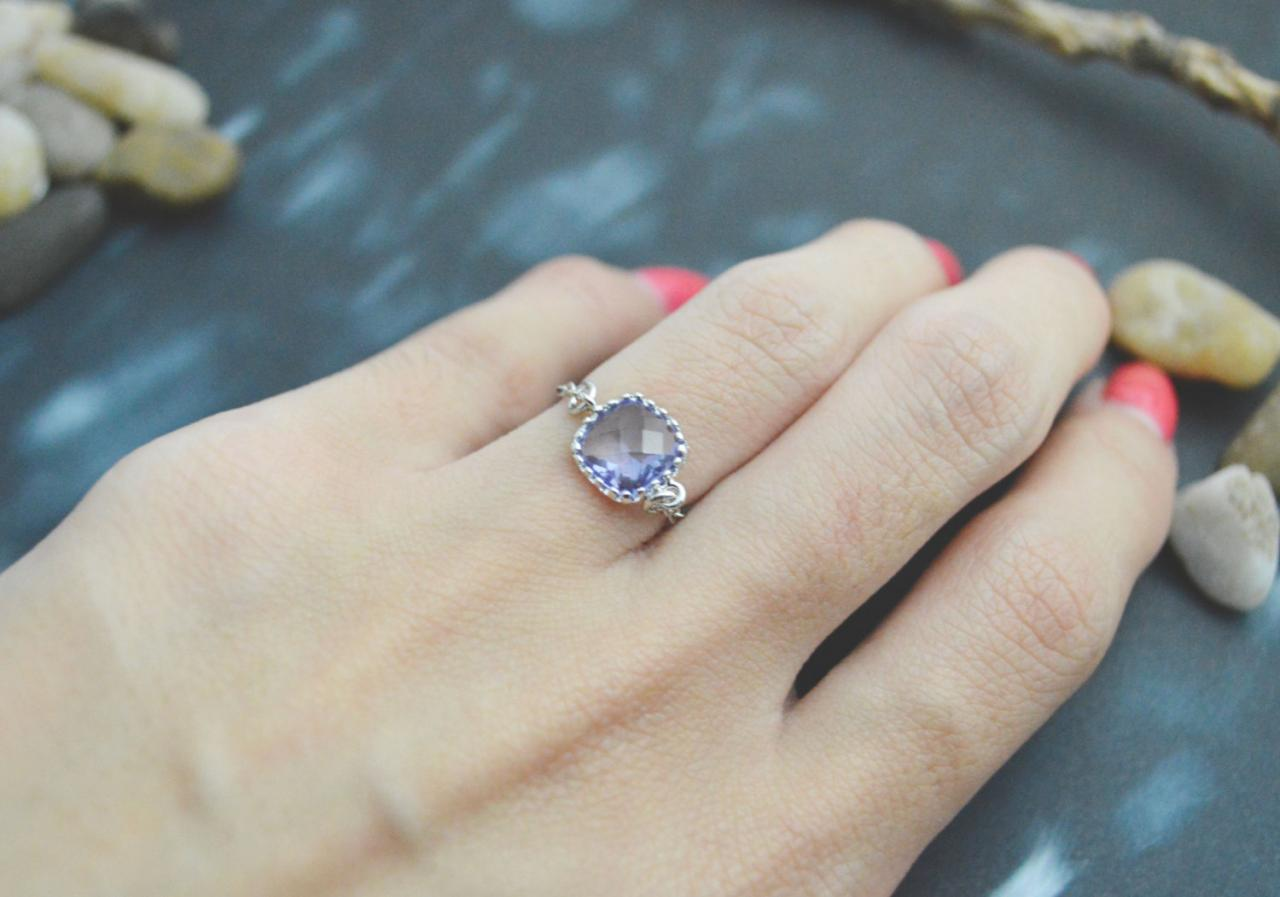 E-031 Tanzanite Glass ring, Silver Framed ring, Chain ring, Simple ring, Modern ring, Silver plated ring/Everyday/Gift/