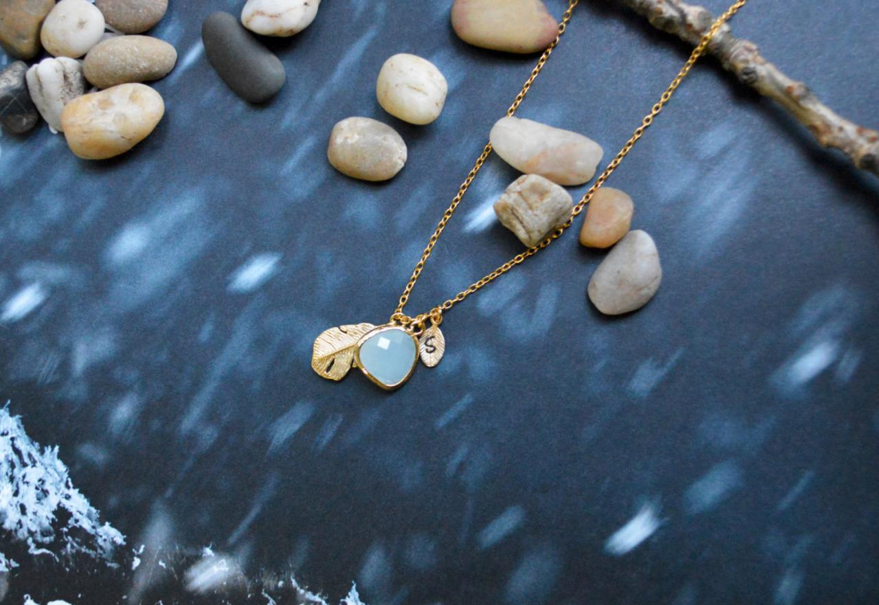 A-134 Hand stamped initial leaf necklace, Drop necklace, Feather Necklace, Mint necklace, Gold plated/Everyday jewelry /Special gift/