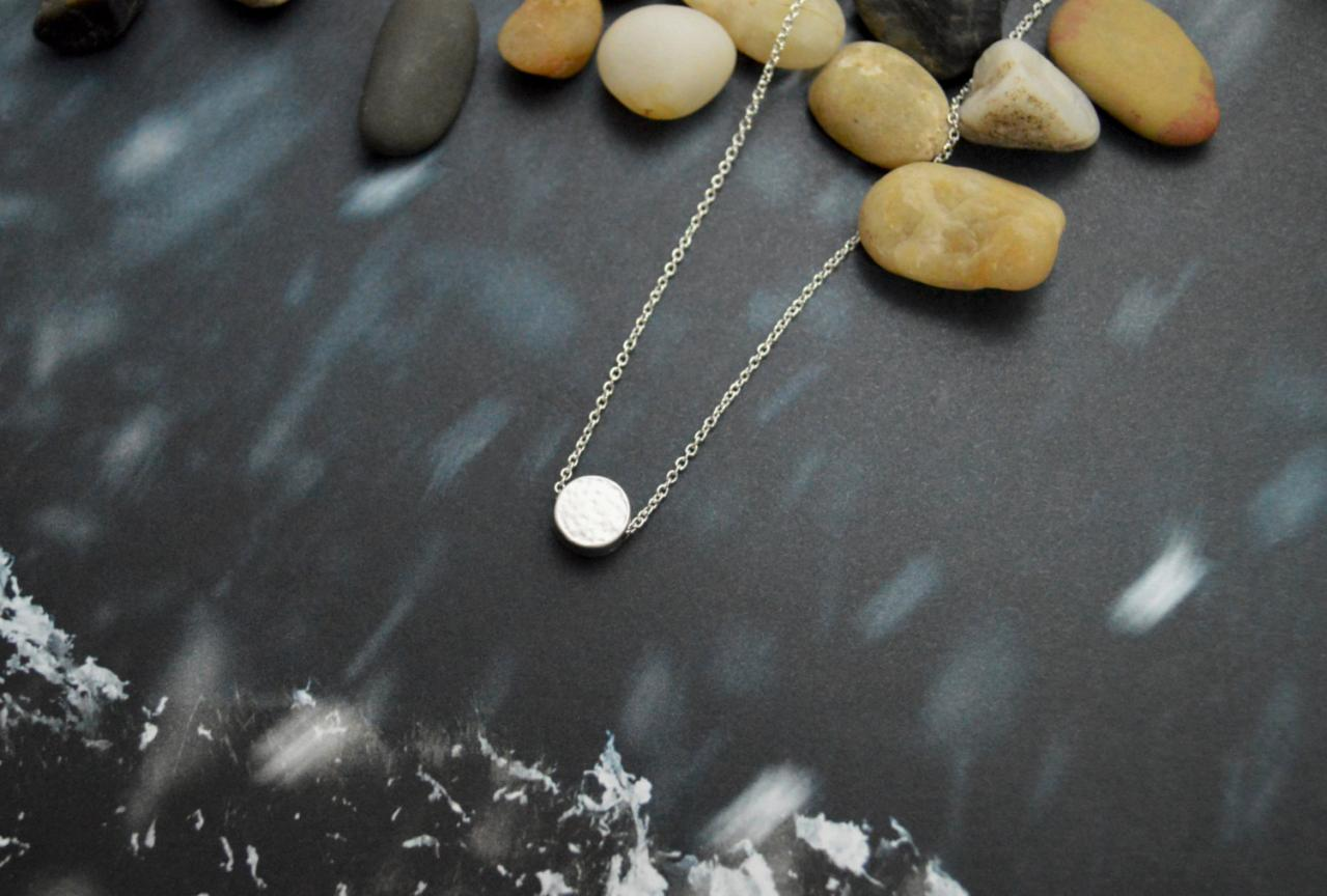 A-111 Coin necklace, Simple Necklace, Modern necklace, Girls necklace, Silver plated necklace/Bridesmaid gifts/Everyday jewelry/