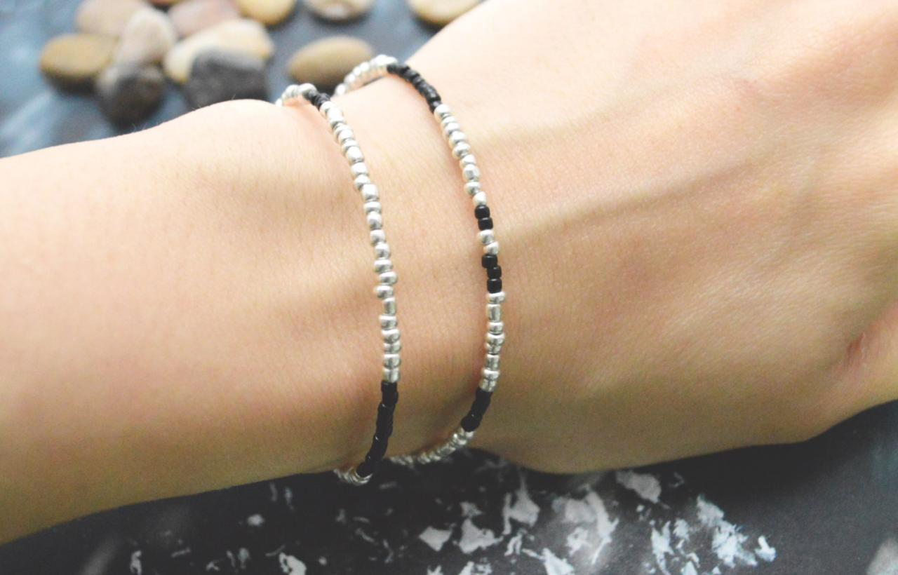 C-098 Silver Beaded bracelet, Layered, Double strand, Black Seed bead bracelet, Simple bracelet, Modern bracelet/Everyday jewelry/