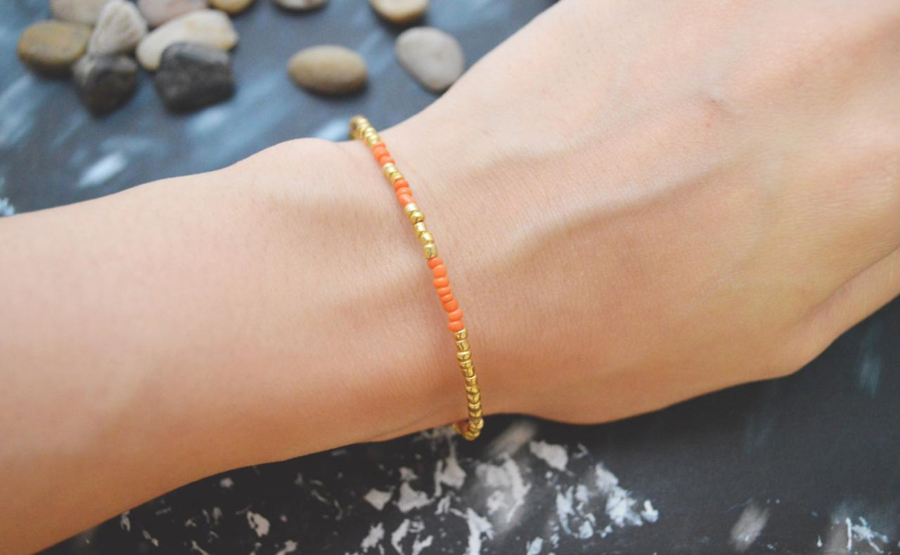 C-092 Gold Beaded bracelet, Seed bead bracelet, Orange beads, Simple bracelet, Modern bracelet/Everyday jewelry/