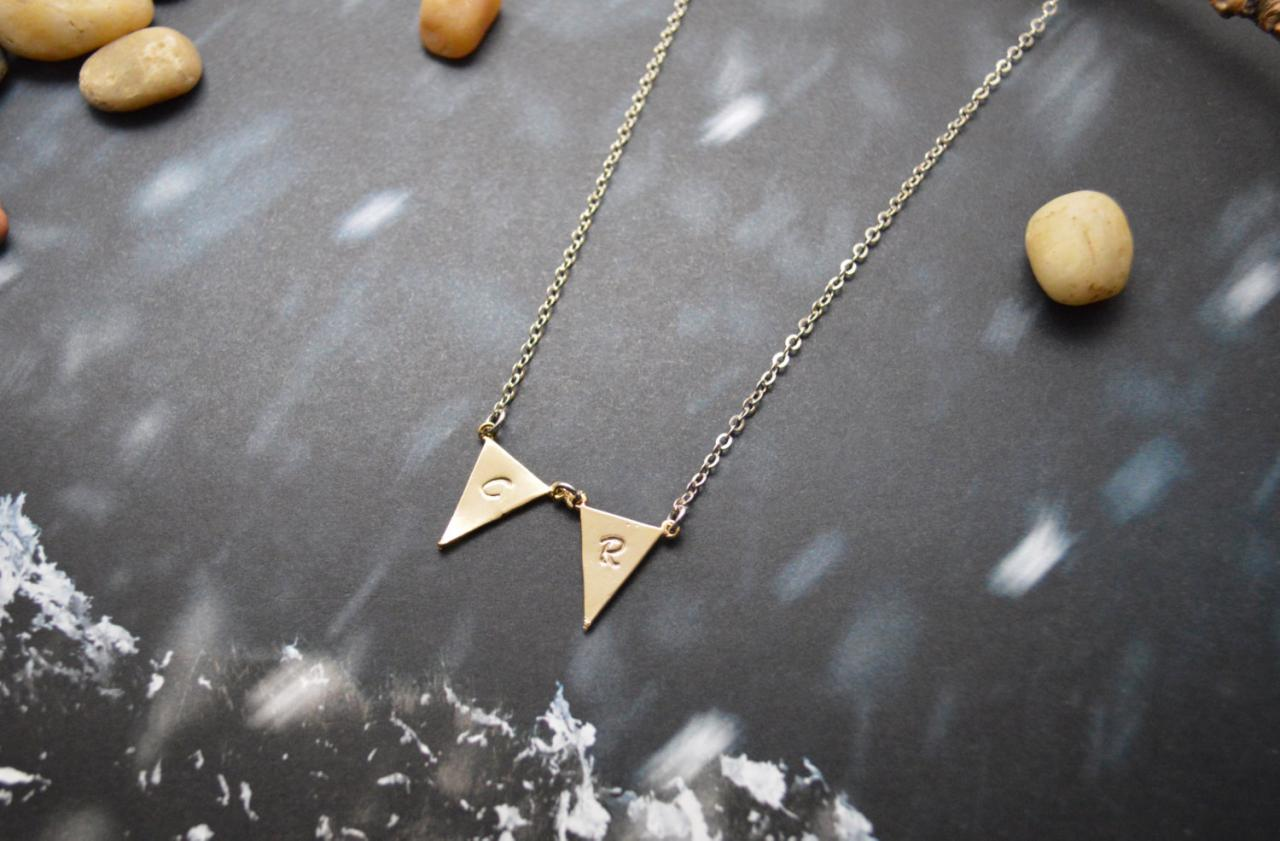 A-149 Hand stamped initial leaf necklace, Triangle necklace, Simple, Modern necklace, Silver, Gold plated/Everyday jewelry /Special gift/