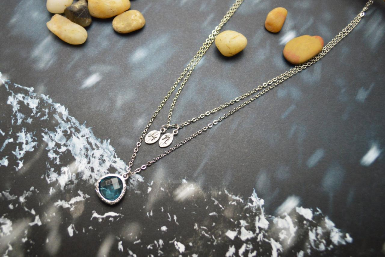 A-139 Hand stamped initial leaf necklace, Double strand, Layered, Drop necklace, Aquamarine, Silver plated/Everyday jewelry /Special gift/