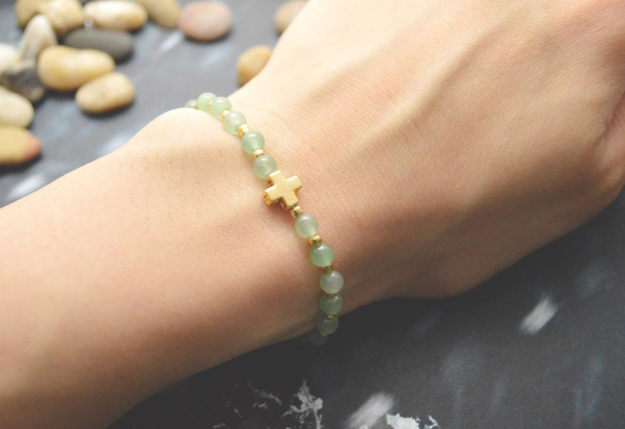 C-071 Rosary bracelet, Aventurine, Seed beads bracelet, Stretch bracelet, Stone bracelet, Cross bracelet, Gold plated/Everyday jewelry/