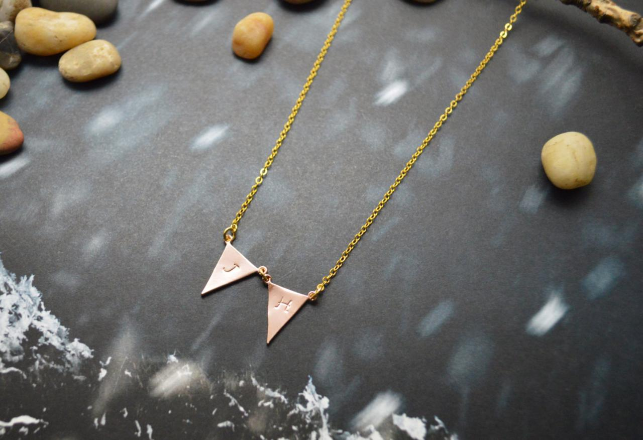 A-152 Hand stamped initial leaf necklace, Triangle necklace, Simple, Modern necklace, Pink gold, Gold plated/Everyday jewelry /Special gift/