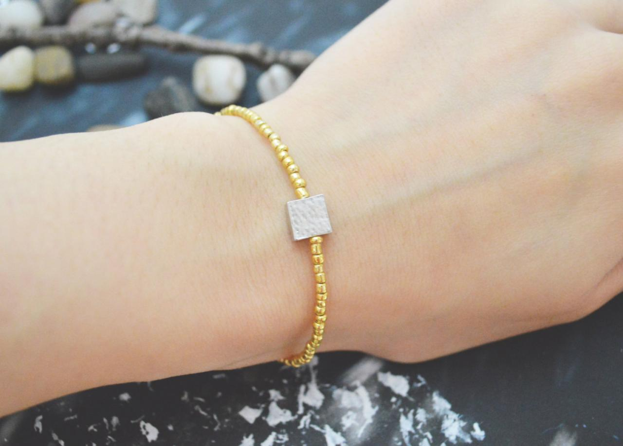 C-114 Gold Beaded bracelet, Seed beads bracelet, Square bracelet, Simple, Modern bracelet, Silver plated /Everyday jewelry/