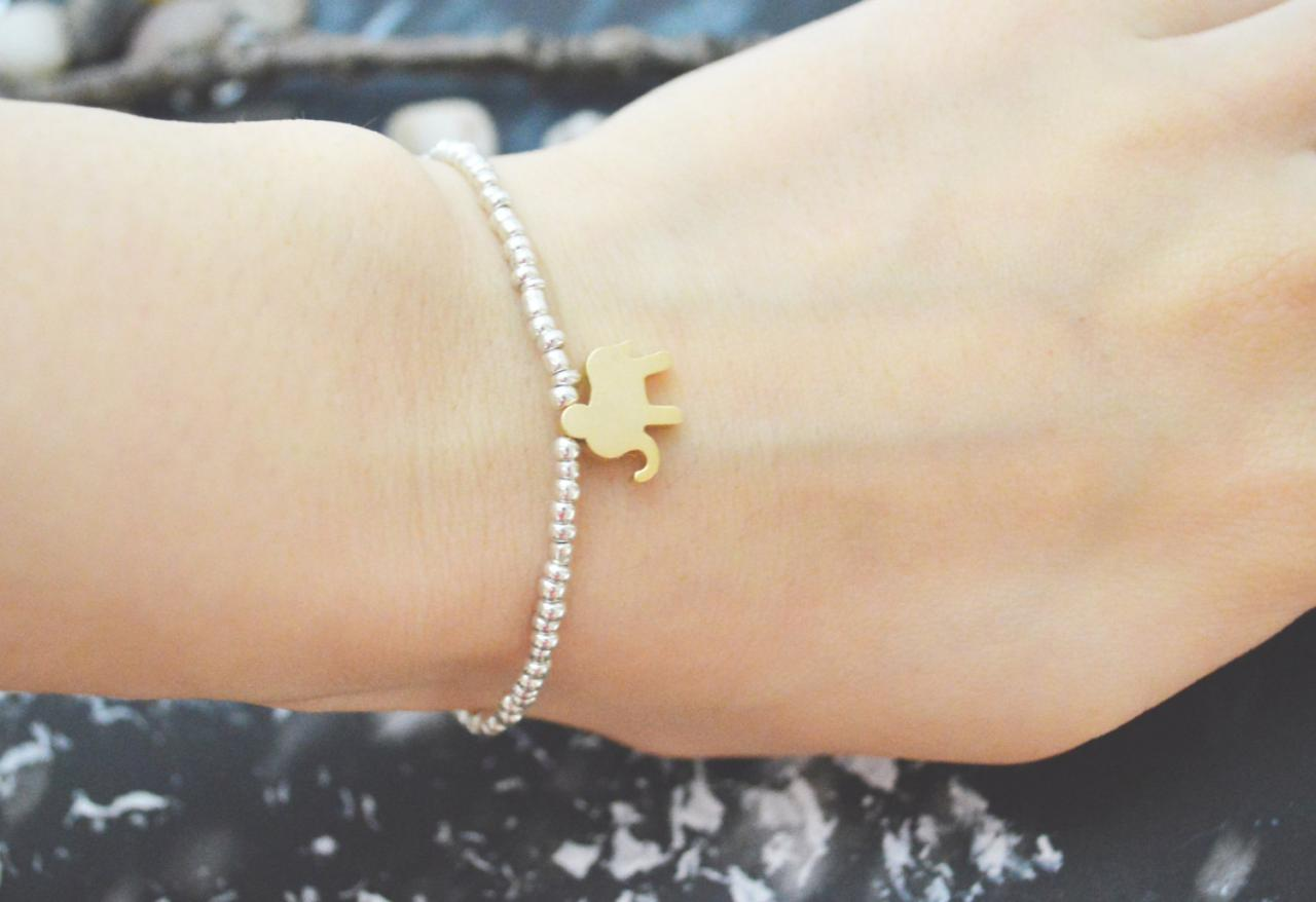 C-103 Silver Beaded bracelet, Seed bead bracelet, Elephant bracelet, Simple, Modern bracelet, Gold plated/Everyday jewelry/