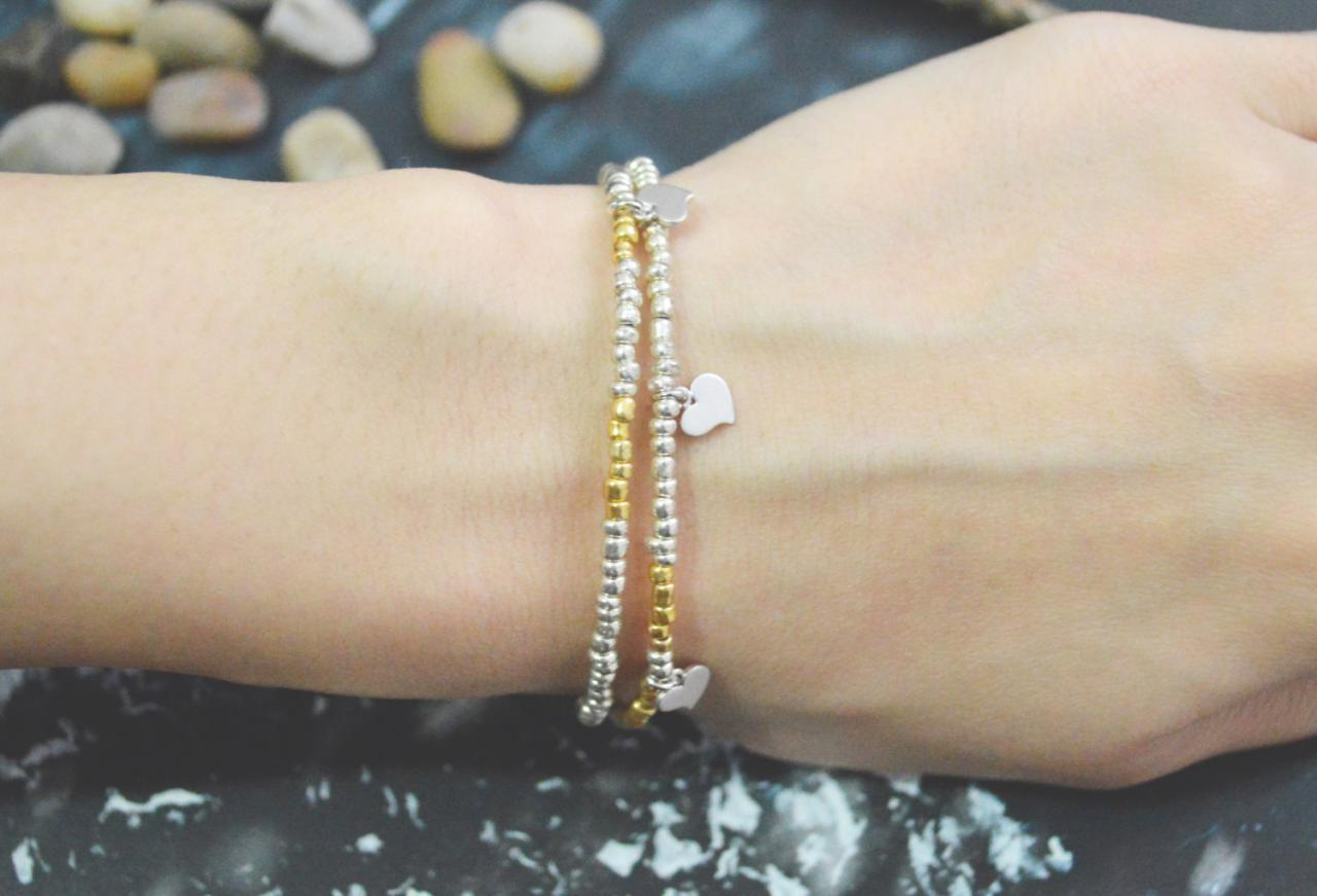 C-128 Silver, Gold Beaded bracelet, Layered, Double strand, Heart bracelet, Simple, Modern bracelet, Silver plated/Everyday jewelry/