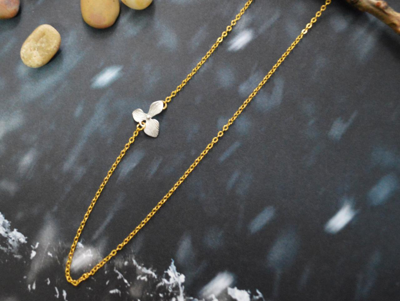 A-183 Sideways Necklace, Orchid, Flower necklace,Asymmetrical,Unbalanced,Simple necklace, Silver,Gold plated/Everyday jewelry /Special gift/