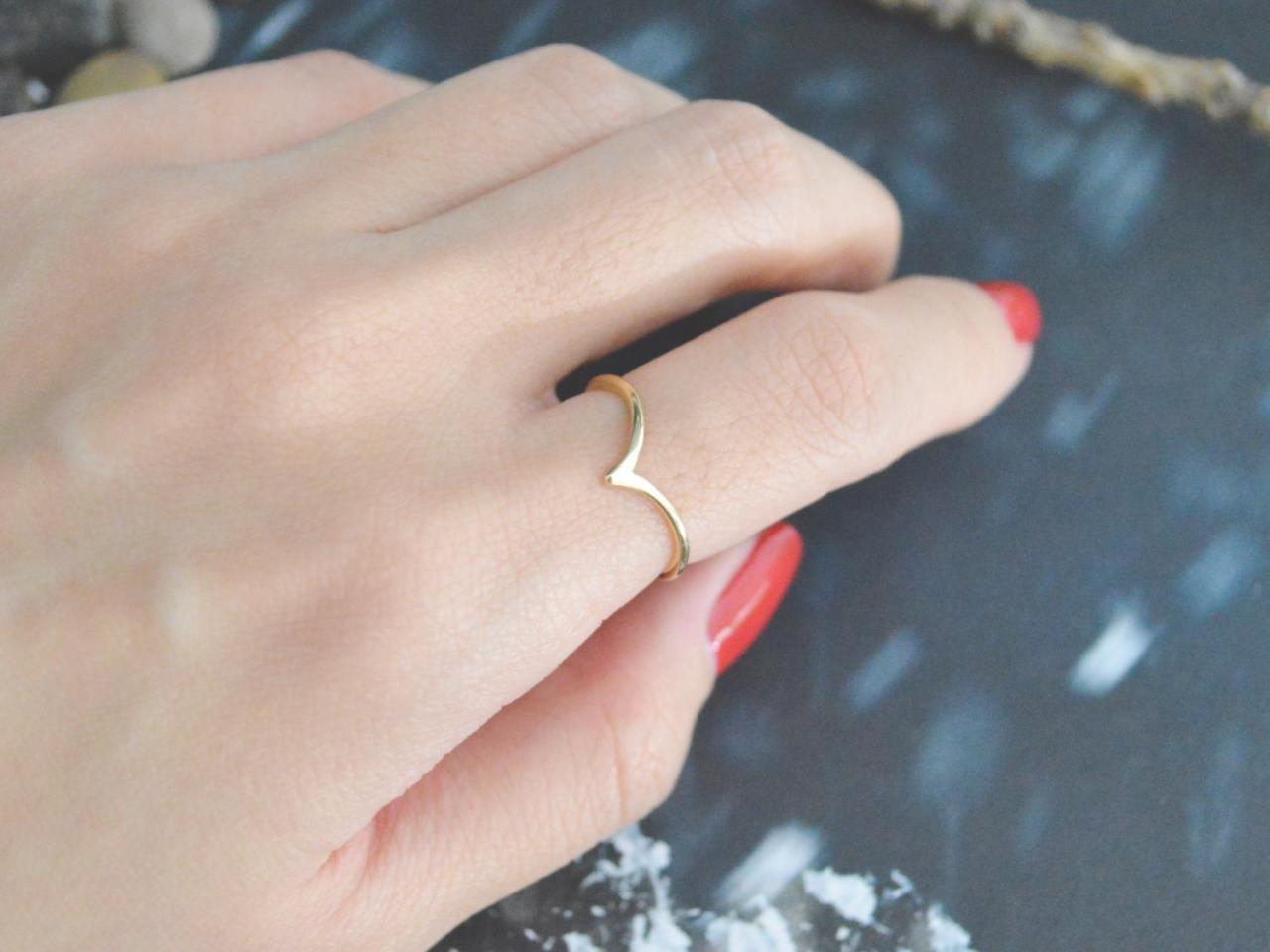 E-059 Chevron ring, Triangle, Simple ring, Modern ring, Gold plated ring/Everyday/Gift/