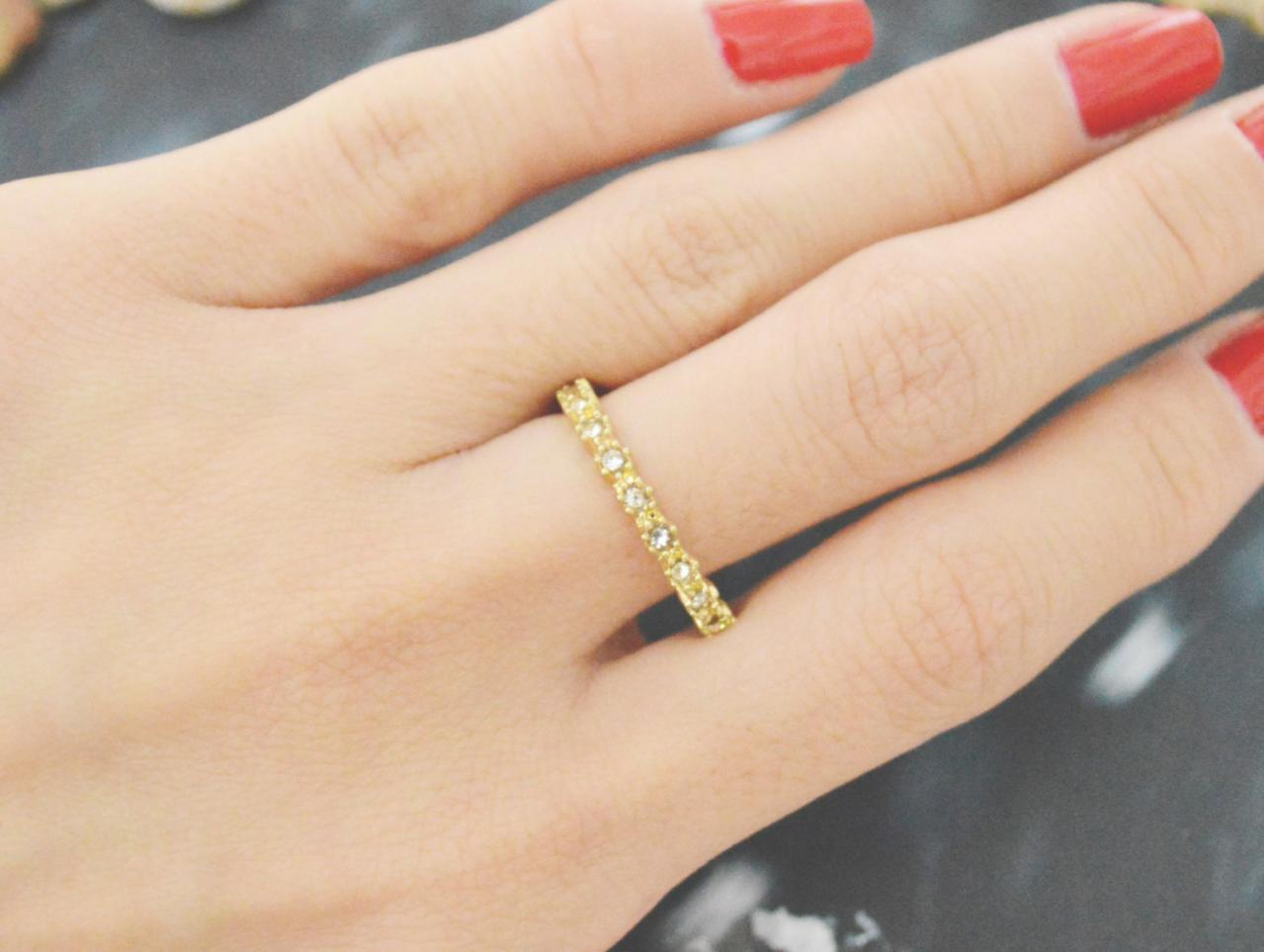 E-054 Round ring, Cubic ring, Simple ring, Modern ring, Gold plated ring/Everyday/Gift/