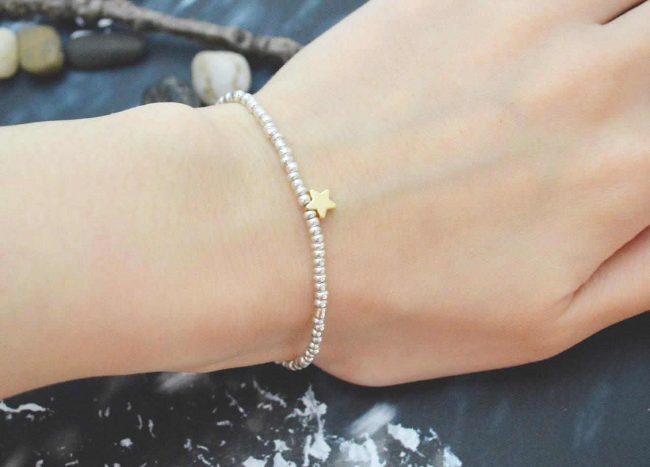 C-123 Silver Beaded bracelet, Seed beads bracelet, Star bracelet, Simple bracelet, Gold plated /Everyday jewelry/