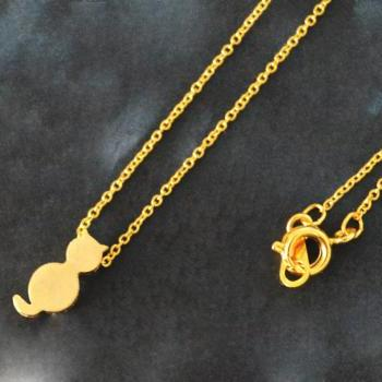 Cat necklace, Animal necklace, Simple necklace, Modern necklace, Gold plated chain/Everyday jewelry /Special gift/