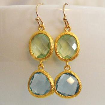 Glass drop earrings, Chrysolite&aquamarine drop earrings, Dangle earrings, Gold plated earrings/Bridesmaid gifts/Everyday jewelry/