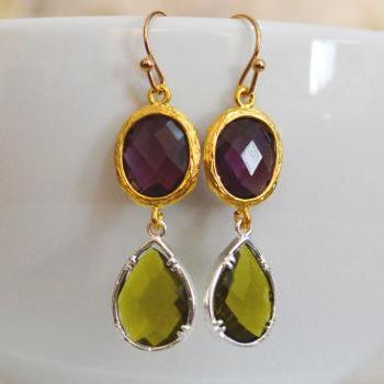Glass drop earrings, Amethyst&khaki drop earrings, Dangle earrings, Gold and silver plated/Bridesmaid gifts/Everyday jewelry/