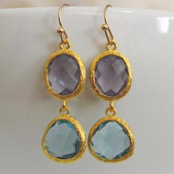 Glass drop earrings, Amethyst & aquamarine drop earrings, Dangle earrings, Gold plated earrings/Bridesmaid gifts/Everyday jewelry/
