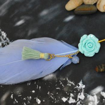 SALE10%) D-003 Sky blue goose feather extension, Blue flower cabochon with mint tassel hairpin, Gold plated hairpin/Everyday accessory/