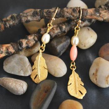 Small feather earrings, Dangle earrings, White pearl & pink coral, Gold plated pendant/Bridesmaid gifts/Everyday jewelry/