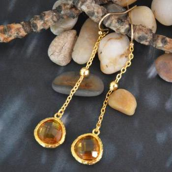 Glass topaz drop earrings, Bezel set dangle earring, Dangle earrings,Gold plated ball chain/Special gifts/ Everyday jewelry/