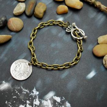 C-030 Antique bronze coin bracelet,Chunk chain bracelet,Toggle bracelet,Layered bracelet,Simple bracelet, Pattern bracelet/Everyday jewelry/