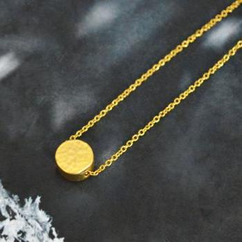 A-001 Coin necklace, Simple Necklace, Modern necklace, Girls necklace, Gold plated necklace/Bridesmaid gifts/Everyday jewelry/