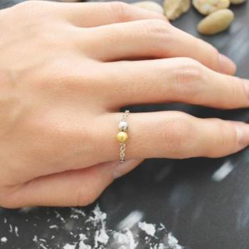 E-020 Metal bead ring, Beads ring, Chain ring, Simple ring, Modern ring, Rhodium plated ring/Everyday/Gift/