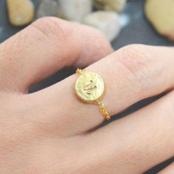 E-003 Hand Stamped Initial ring, Coin ring, Circle ring, Chain ring, Simple ring, Modern ring, Gold plated ring/Everyday/Gift/