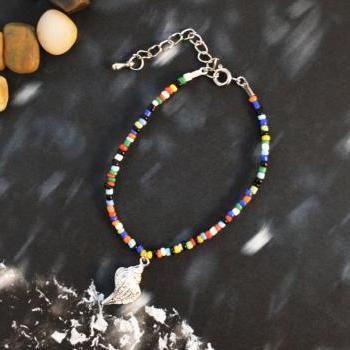SALE) C-003 Beaded bracelet, Seed bead bracelet, Colorful bracelet, Simple bracelet, Charm bracelet, Seashell bracelet/Everyday jewelry/