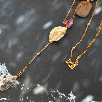 A-020 Asymmetrical Leaf with zircon, Bezel set crystal drop with ruby necklace, Gold plated ball and flat-o chain/Bridesmaid gifts/