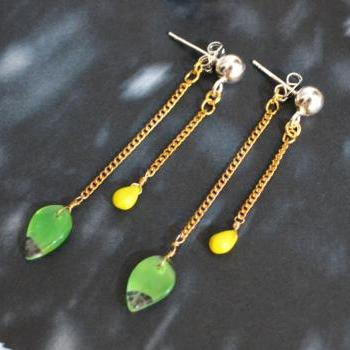 SALE) B-001 Vintage glass earrings, Green leaf & yellow drop, Silver ball stud earrings, Dangle earrings/Special gifts/Everyday jewelry/