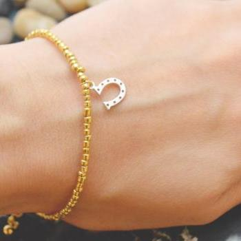 C-059 Gold Beaded bracelet, Seed bead bracelet, Horseshoe bracelet, Pendant Bracelet, Simple bracelet, Horse's hoof/Everyday jewelry/