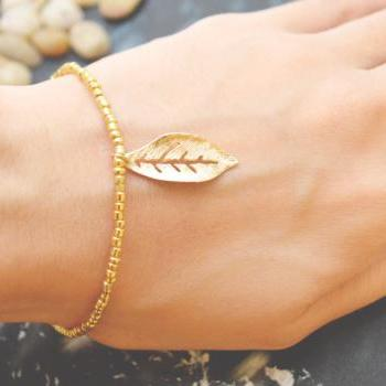 C-056 Gold Beaded bracelet, Seed bead bracelet, Leaf bracelet, Pendant Bracelet, Simple bracelet, Charm bracelet/Everyday jewelry/