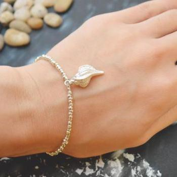 C-054 Silver Beaded bracelet, Seed bead bracelet, Seashell bracelet, Pendant Bracelet, Simple bracelet, Charm bracelet/Everyday jewelry/