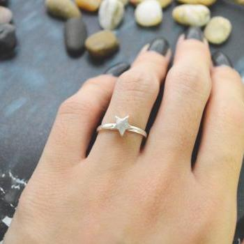 E-048 Star ring, Adjustable ring, Stretch ring, Simple ring, Modern ring, Silver plated ring/Everyday/Gift/