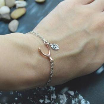 C-041 Wishbone initial bracelet, Personalized bracelet, Simple bracelet, Silver, Pink gold plated/Everyday jewelry/