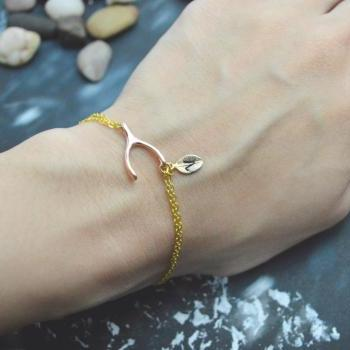 C-040 Wishbone initial bracelet, Personalized bracelet, Simple bracelet, Gold, Pink gold plated/Everyday jewelry/