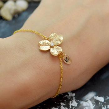 C-033 Flower initial bracelet, Personalized bracelet, Simple bracelet, Gold plated/Everyday jewelry/