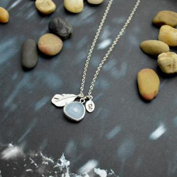 A-117 Hand stamped initial leaf necklace, Drop necklace, Feather Necklace, Mint necklace/Everyday jewelry /Special gift/