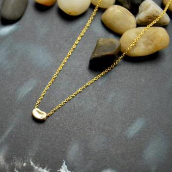 A-112 Bean necklace, Cubic Necklace, Zirconia necklace, Modern necklace, Gold plated necklace/Bridesmaid gifts/Everyday jewelry/
