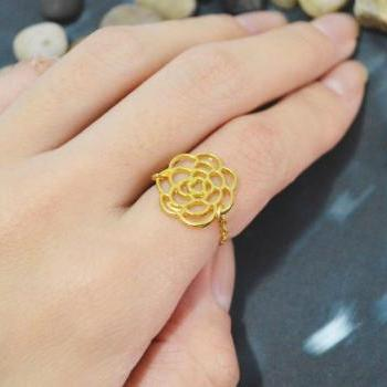 E-026 Flower ring, Chain ring, Camellia ring, Simple ring, Modern ring, Rhodium plated ring/Everyday/Gift/