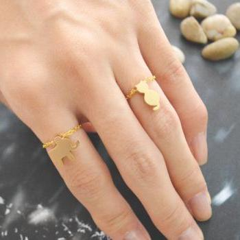 E-023 Cat ring, Chain ring, Simple ring, Modern ring, Gold plated ring/Everyday/Gift/