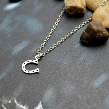 A-110 Horse's hoof necklace, Horseshoe necklace, Simple necklace, Modern necklace, Rhodium plated/Bridesmaid/gifts/Everyday jewelry/