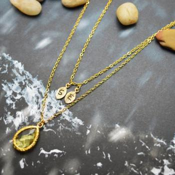 A-144 Hand stamped initial leaf necklace, Double strand, Layered, Drop necklace, Yellow, Gold plated/Everyday jewelry /Special gift/