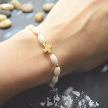 C-073 Rosary bracelet, White coral, Seed beads bracelet, Stretch bracelet, Stone bracelet, Cross bracelet, Gold plated/Everyday jewelry/
