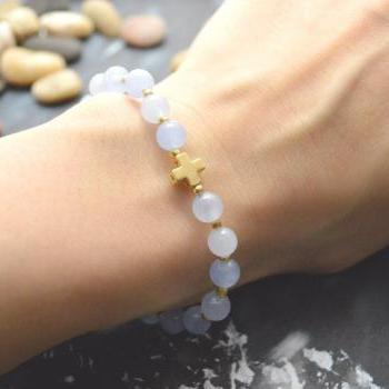 C-072 Rosary bracelet, Blue jade, Seed beads bracelet, Stretch bracelet, Stone bracelet, Cross bracelet, Gold plated/Everyday jewelry/