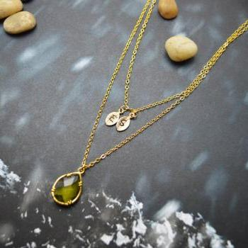 A-138 Hand stamped initial leaf necklace, Double strand, Layered, Drop necklace, Khaki, Gold plated/Everyday jewelry /Special gift/