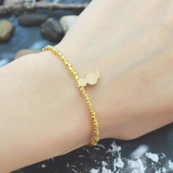 C-106 Gold Beaded bracelet, Seed beads bracelet, Cat bracelet, Simple, Modern bracelet, Gold plated /Everyday jewelry/