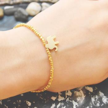 C-102 Gold Beaded bracelet, Seed bead bracelet, Elephant bracelet, Simple, Modern bracelet, Gold plated /Everyday jewelry/